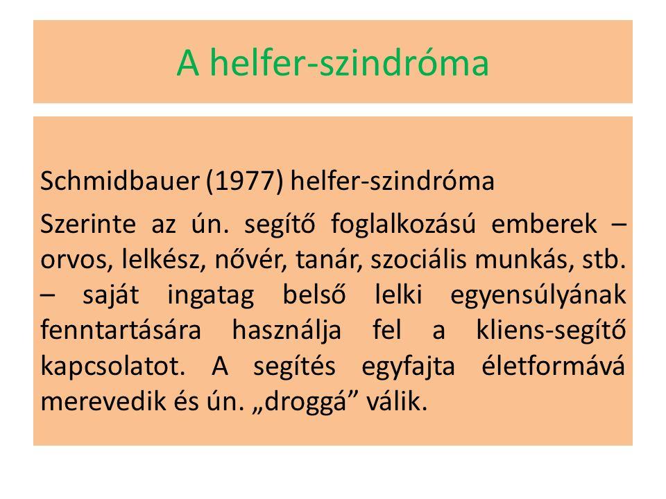 A helfer-szindróma Schmidbauer (1977) helfer-szindróma Szerinte az ún.