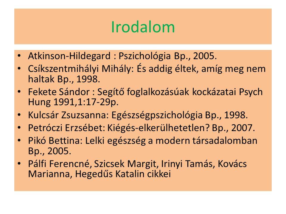 Irodalom Atkinson-Hildegard : Pszichológia Bp., 2005.