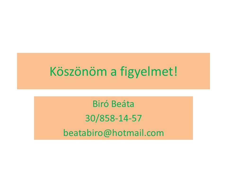 Köszönöm a figyelmet! Biró Beáta 30/858-14-57 beatabiro@hotmail.com