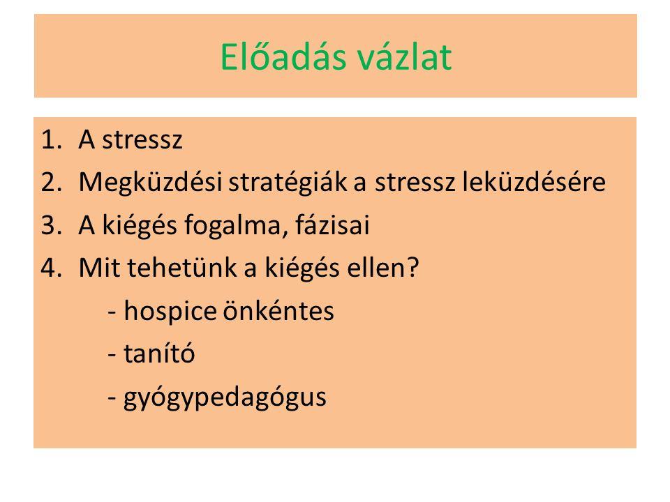 A kiégés fogalma Freudenberger (1974) burnout-szindróma Krónikus stresszek nyomán fellépő fizikai, emocionális kimerülés állapota, mely a reménytelenség érzésével, a célok és ideálok elvesztésével jár, s melyet a saját személyre, a munkára, más személyre irányuló negatív attitűd (beállítódás) jellemez.