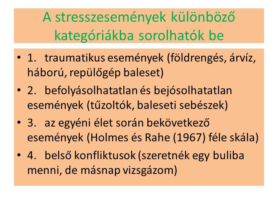 A stresszesemények különböző kategóriákba sorolhatók be 1.traumatikus események (földrengés, árvíz, háború, repülőgép baleset) 2.befolyásolhatatlan és bejósolhatatlan események (tűzoltók, baleseti sebészek) 3.az egyéni élet során bekövetkező események (Holmes és Rahe (1967) féle skála) 4.belső konfliktusok (szeretnék egy buliba menni, de másnap vizsgázom)