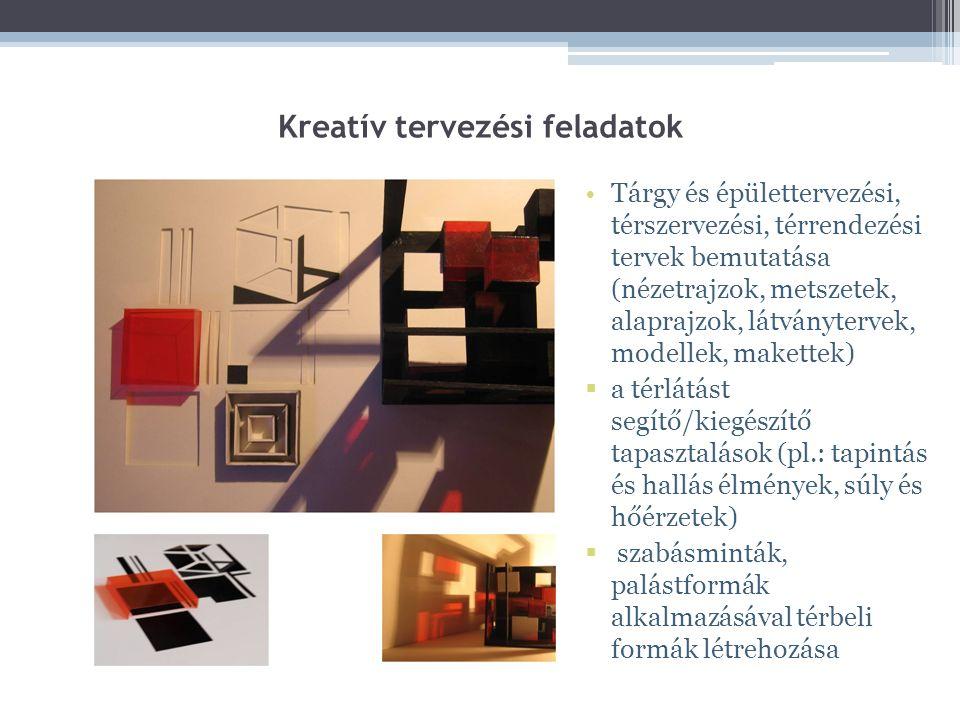 Kreatív tervezési feladatok Tárgy és épülettervezési, térszervezési, térrendezési tervek bemutatása (nézetrajzok, metszetek, alaprajzok, látványtervek