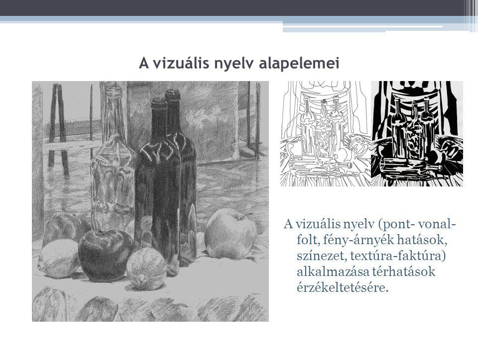 A vizuális nyelv alapelemei A vizuális nyelv (pont- vonal- folt, fény-árnyék hatások, színezet, textúra-faktúra) alkalmazása térhatások érzékeltetésére.