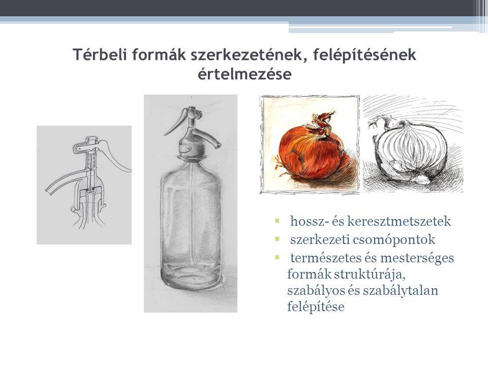 Térbeli formák szerkezetének, felépítésének értelmezése  hossz- és keresztmetszetek  szerkezeti csomópontok  természetes és mesterséges formák stru