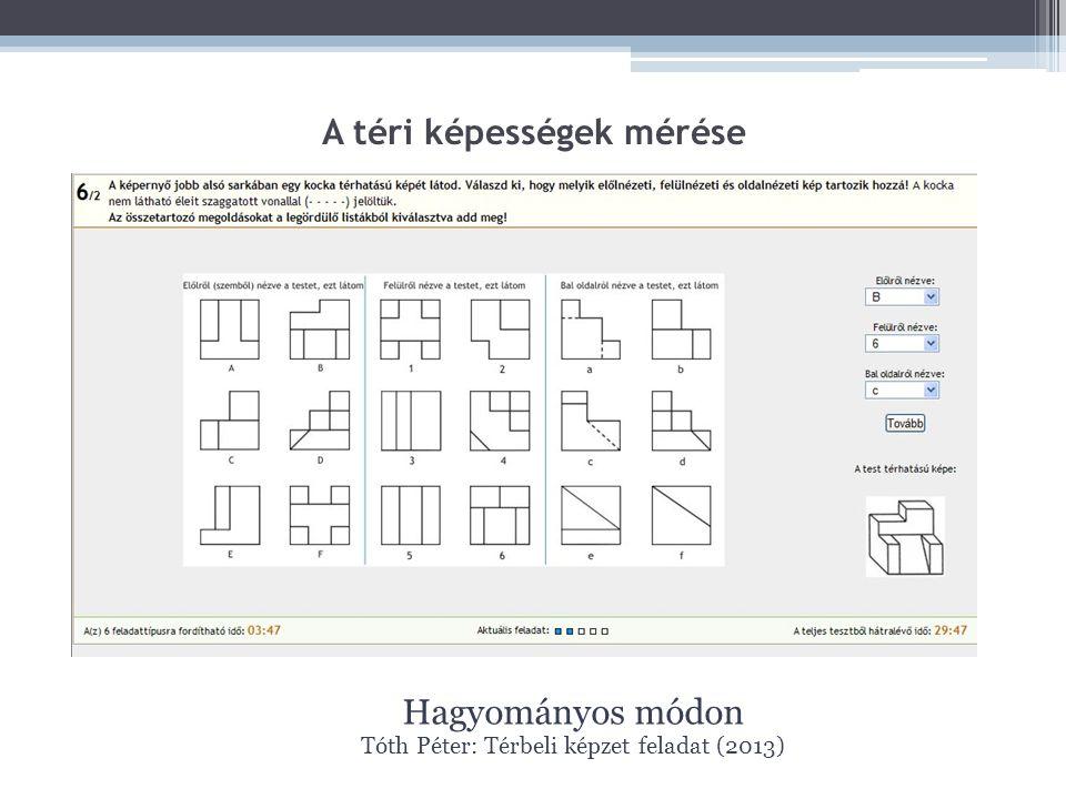 A téri képességek mérése Hagyományos módon Tóth Péter: Térbeli képzet feladat (2013)