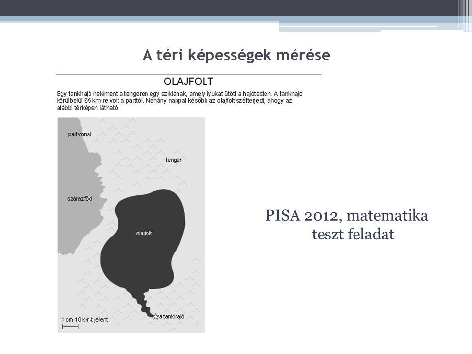 A téri képességek mérése PISA 2012, matematika teszt feladat
