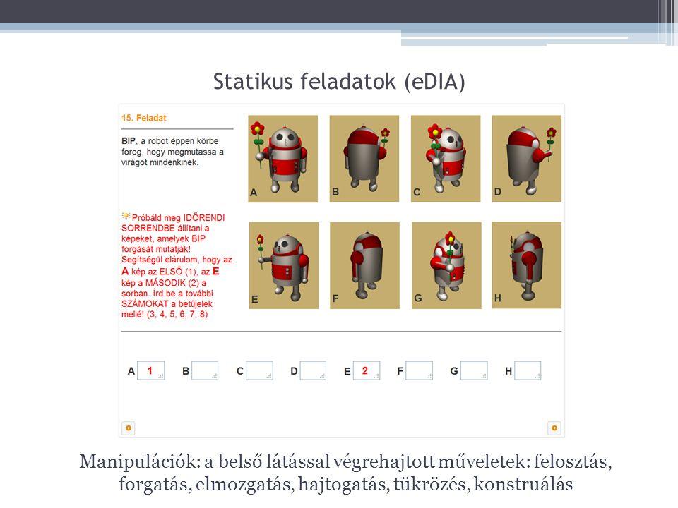 Statikus feladatok (eDIA) Manipulációk: a belső látással végrehajtott műveletek: felosztás, forgatás, elmozgatás, hajtogatás, tükrözés, konstruálás