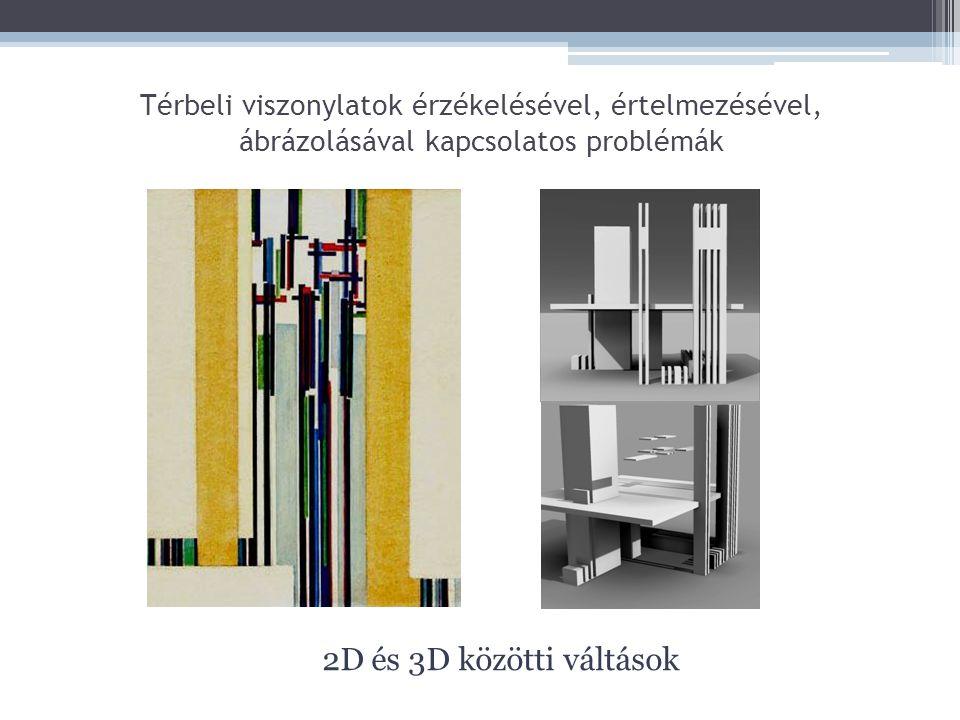 Térbeli viszonylatok érzékelésével, értelmezésével, ábrázolásával kapcsolatos problémák 2D és 3D közötti váltások