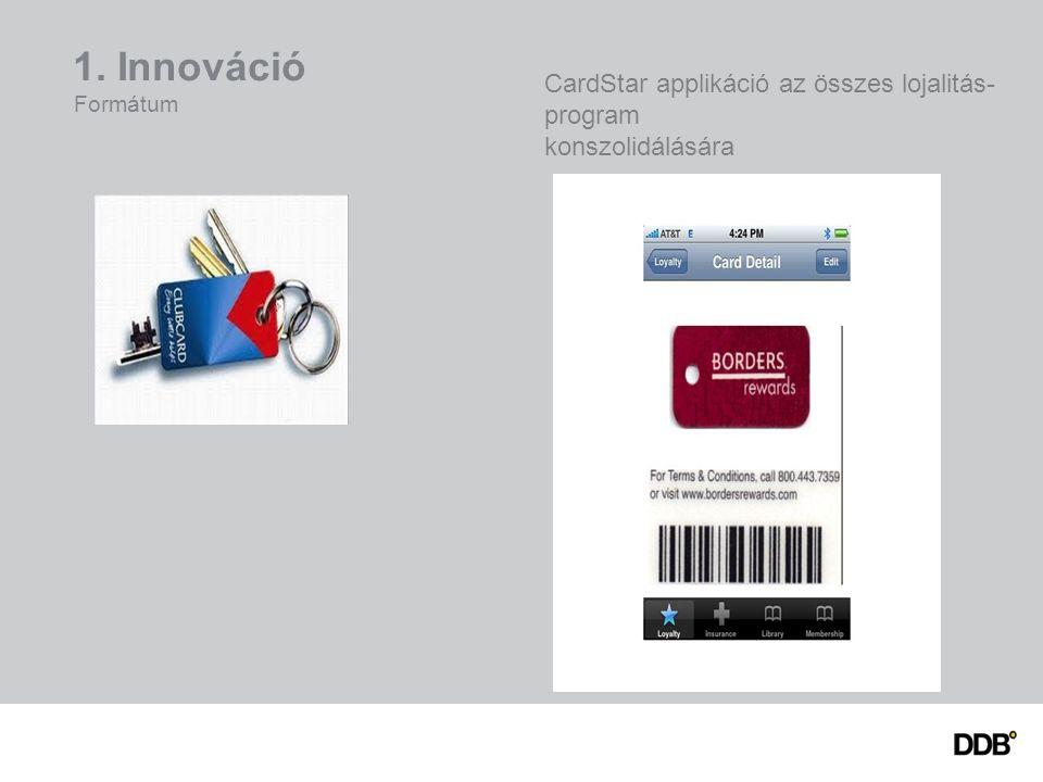 1. Innováció Formátum CardStar applikáció az összes lojalitás- program konszolidálására