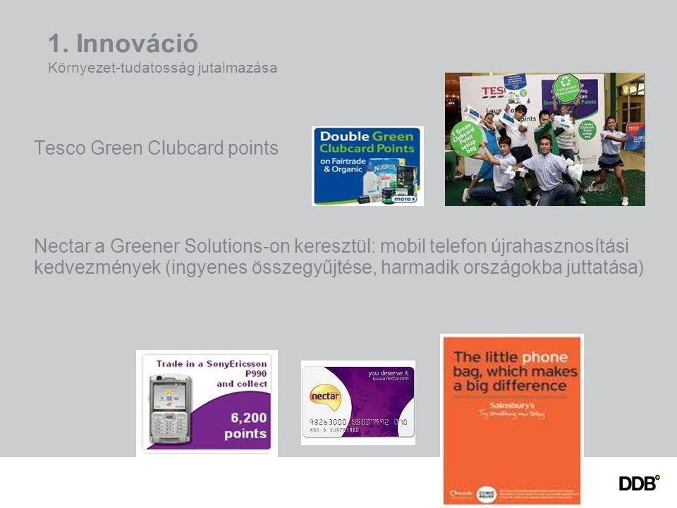 1. Innováció Környezet-tudatosság jutalmazása Tesco Green Clubcard points Nectar a Greener Solutions-on keresztül: mobil telefon újrahasznosítási kedv