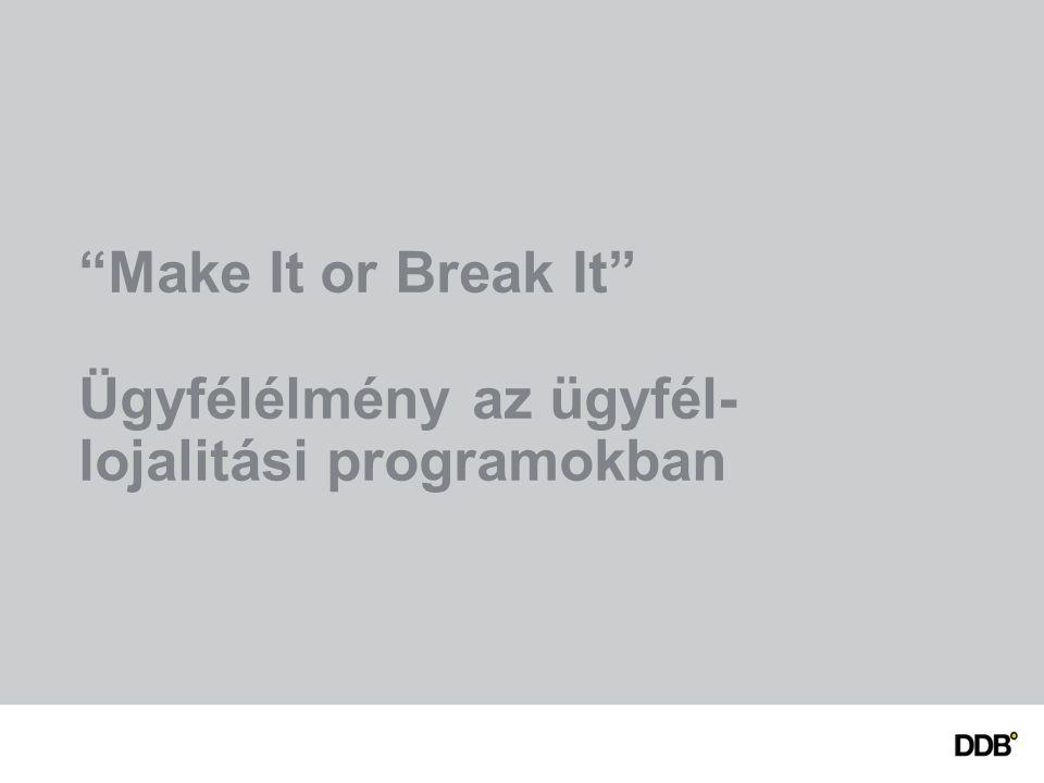 Make It or Break It Ügyfélélmény az ügyfél- lojalitási programokban