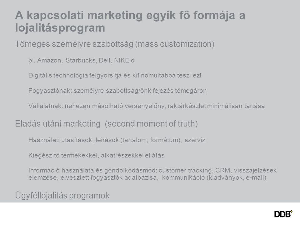 A kapcsolati marketing egyik fő formája a lojalitásprogram Tömeges személyre szabottság (mass customization) pl. Amazon, Starbucks, Dell, NIKEid Digit