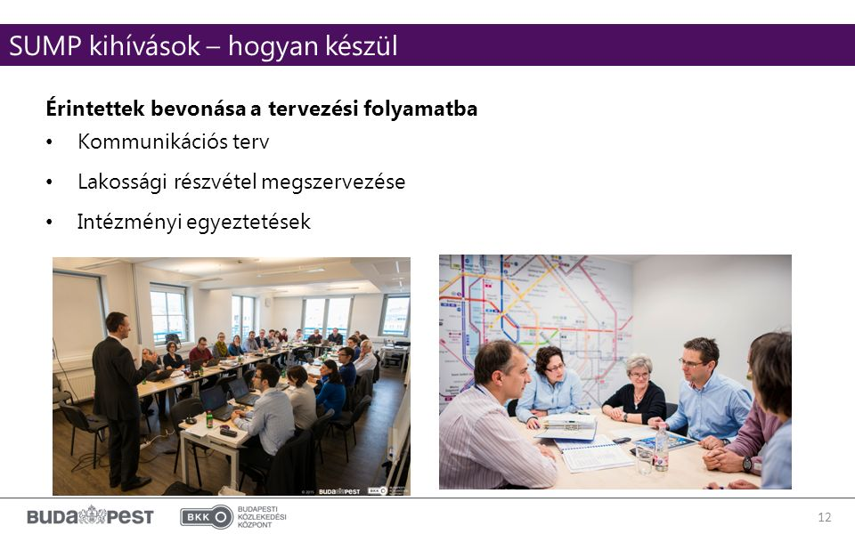 12 Érintettek bevonása a tervezési folyamatba Kommunikációs terv Lakossági részvétel megszervezése Intézményi egyeztetések SUMP kihívások – hogyan készül