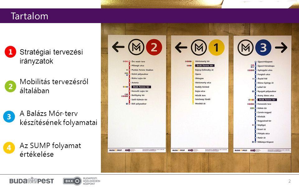 2 2010 után kialakított szervezeti modell Tartalom Stratégiai tervezési irányzatok Mobilitás tervezésről általában A Balázs Mór-terv készítésének folyamatai Az SUMP folyamat értékelése 1 2 3 4