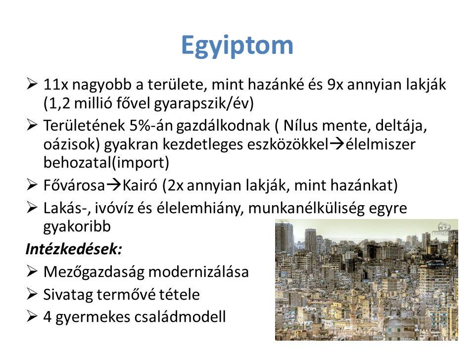 Egyiptom  11x nagyobb a területe, mint hazánké és 9x annyian lakják (1,2 millió fővel gyarapszik/év)  Területének 5%-án gazdálkodnak ( Nílus mente,