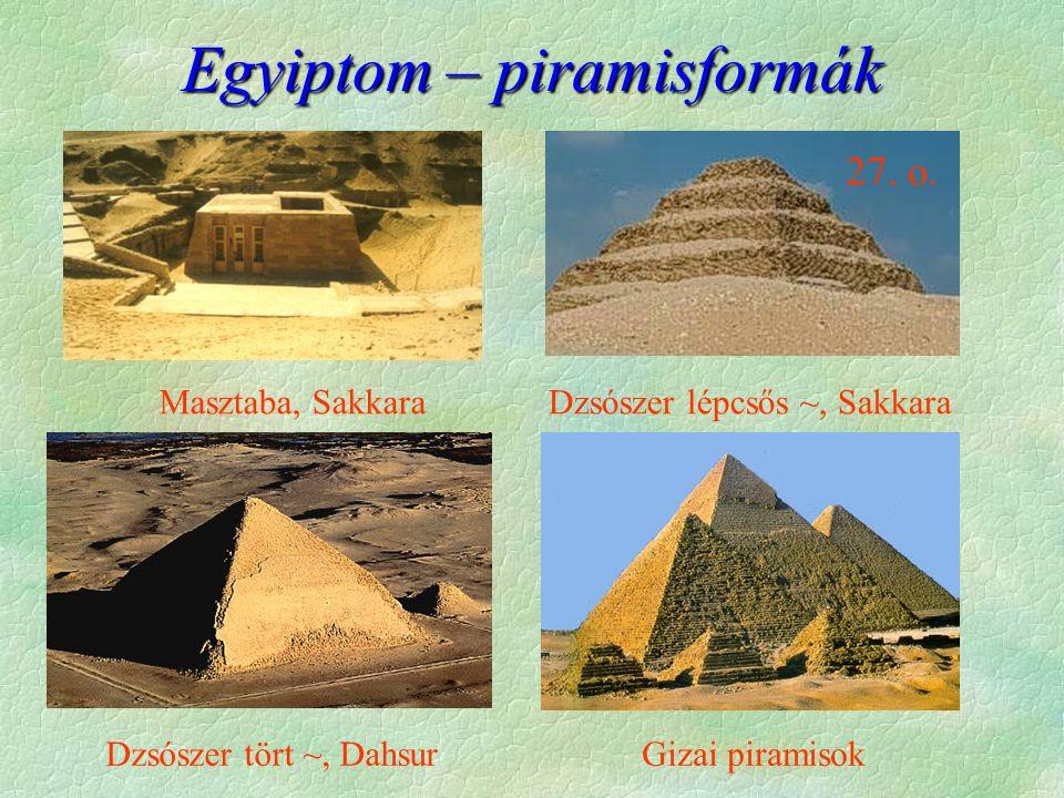Egyiptom – piramisformák Masztaba, SakkaraDzsószer lépcsős ~, Sakkara Dzsószer tört ~, DahsurGizai piramisok 27. o.