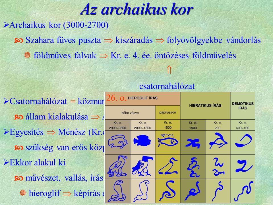 Az archaikus kor  Archaikus kor (3000-2700)  Szahara füves puszta  kiszáradás  folyóvölgyekbe vándorlás  földműves falvak  Kr. e. 4. ée. öntözés