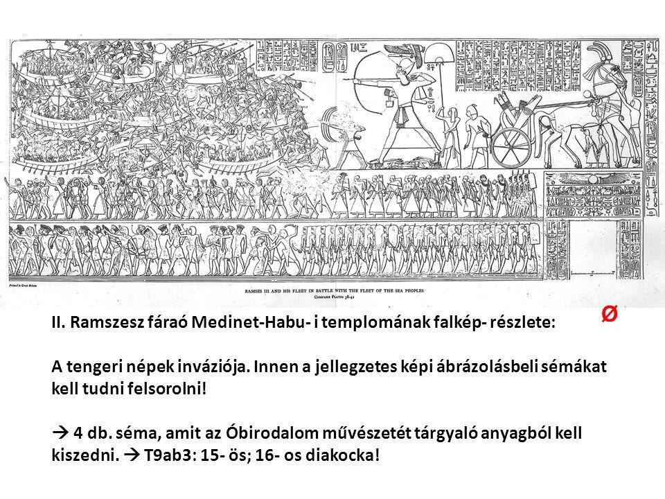 II. Ramszesz fáraó Medinet-Habu- i templomának falkép- részlete: A tengeri népek inváziója.