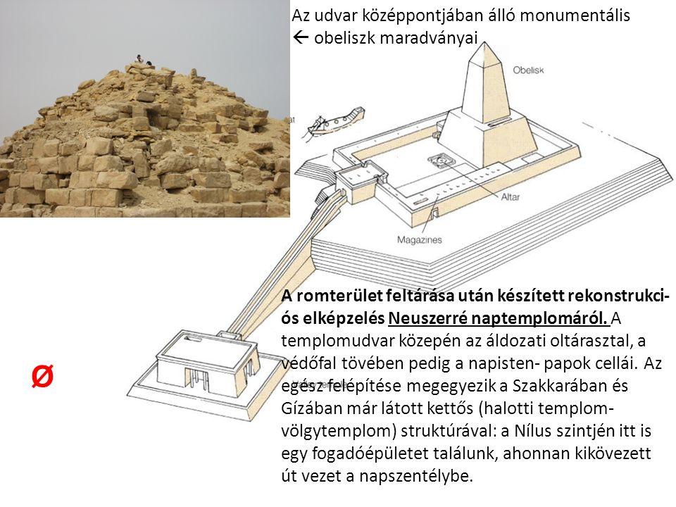 A romterület feltárása után készített rekonstrukci- ós elképzelés Neuszerré naptemplomáról.