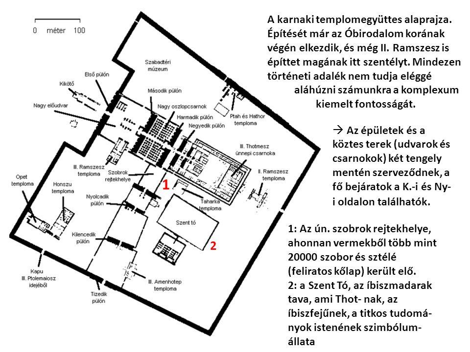 A karnaki templomegyüttes alaprajza. Építését már az Óbirodalom korának végén elkezdik, és még II.