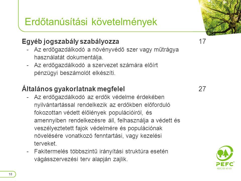 Erdőtanúsítási követelmények 18 Egyéb jogszabály szabályozza -Az erdőgazdálkodó a növényvédő szer vagy műtrágya használatát dokumentálja.