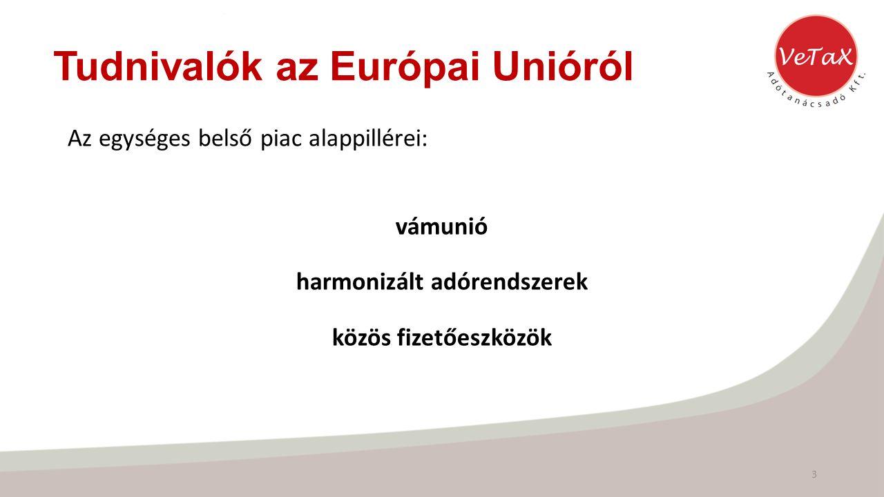 Tudnivalók az Európai Unióról Az egységes belső piac alappillérei: vámunió harmonizált adórendszerek közös fizetőeszközök 3