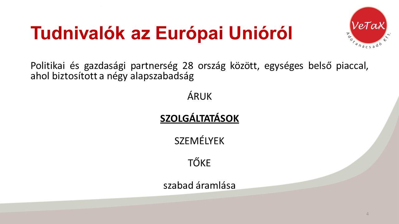 Tudnivalók az Európai Unióról Politikai és gazdasági partnerség 28 ország között, egységes belső piaccal, ahol biztosított a négy alapszabadság ÁRUK SZOLGÁLTATÁSOK SZEMÉLYEK TŐKE szabad áramlása 4