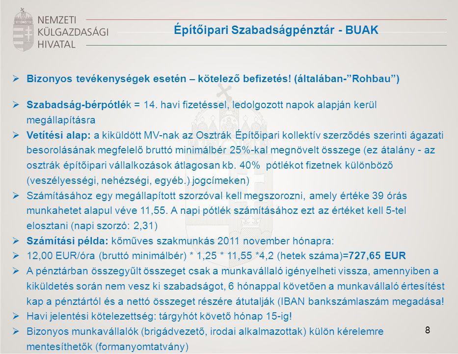 Fontosabb tájékoztató honlapok MagyarországMagyarország NKH/HITA ausztriai ország információs honlap: www.hita.hu Magyar Nagykövetség Bécs külgazdasági Iroda http://www.mfa.gov.hu/kulkepviselet/AT/hu/KULGAZGASAGI+IRODA/kulgazd.htm http://www.mfa.gov.hu/kulkepviselet/AT/hu/KULGAZGASAGI+IRODA/kulgazd.htm Oktatási Hivatal, Magyar Ekvivalencia és Információs Központ: http://www.ekvivalencia.huhttp://www.ekvivalencia.hu Országos Egészségbiztosító Pénztár http://www.oep.huAusztriaAusztria Gazdasági Minisztérium BMWFJ http://www.bmwfj.gv.at/Unternehmen/Gewerbe/Seiten/default.aspx Pénzügyminisztérium/adóhivatal/ elektronikus nyomtatványtár – ZKO – kiküldetés bejelentők: https://www.bmf.gv.at/Service/Anwend/FormDB/_start.asp (ZKO keresőszó beírásával) Építőipari Szabadságpénztár (BUAK) - Nyomtatványok : http://www.buak.at 19