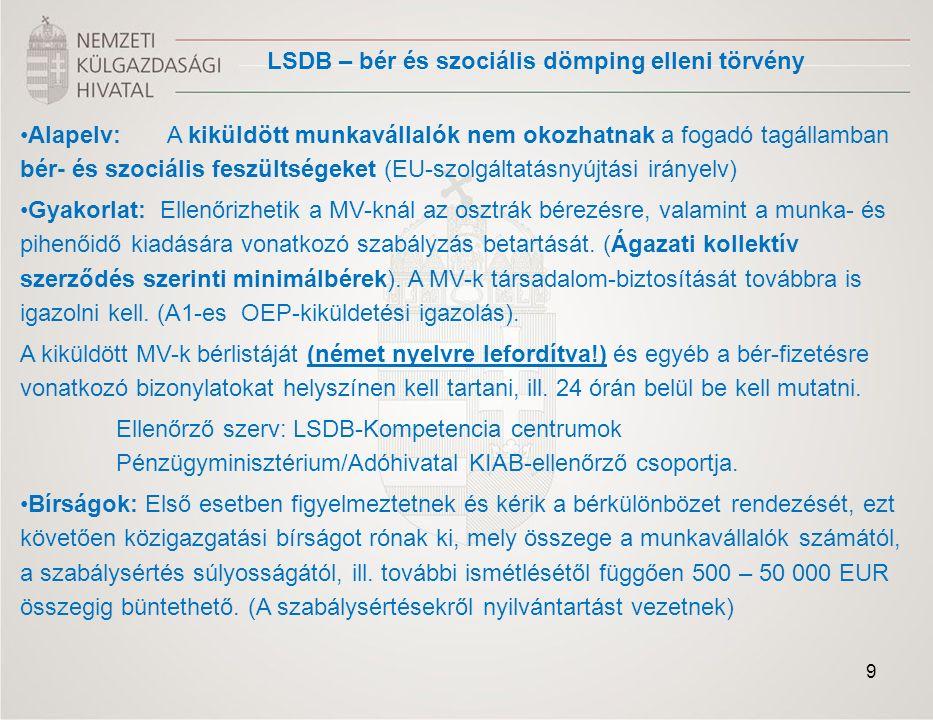 - A kívánt szolgáltatás nyújtásával kapcsolatos követelmények tisztázása: - Iparűzéssel kapcsolatos tájékoztatás, tanácsadás - Tájékoztatás az adott tevékenységre vonatkozó munkaerőpiaci rendelkezésekről (szükséges bejelentésekről, alkalmazandó osztrák bérekről, stb.) -Tájékoztatás a vonatkozó jogszabályokról -magyarul tárgyalóképes osztrák adótanácsadó és ügyvédi irodák listája - Egyéb követelmények tisztázása - Kereskedelemfejlesztés, befektetések ösztönzése -Export tanácsadás (potenciális vevők listája (osztrák cégadatbázisból), piaci sajátosságok.