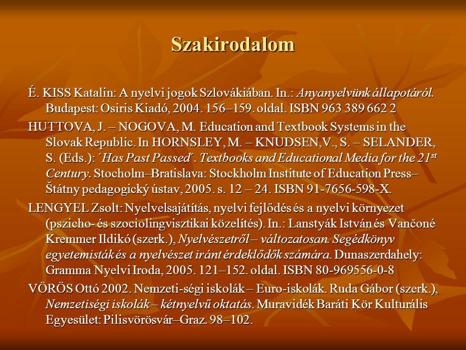Szakirodalom É. KISS Katalin: A nyelvi jogok Szlovákiában. In.: Anyanyelvünk állapotáról. Budapest: Osiris Kiadó, 2004. 156–159. oldal. ISBN 963 389 6
