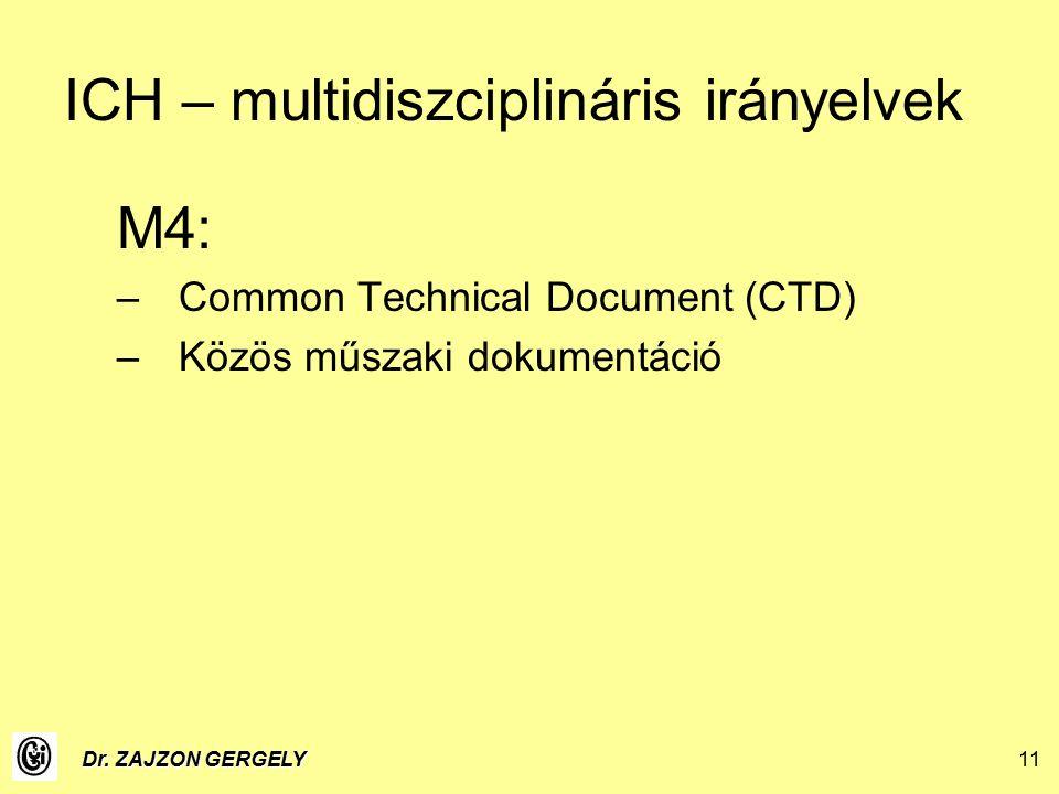 Dr. ZAJZON GERGELY11 ICH – multidiszciplináris irányelvek M4: –Common Technical Document (CTD) –Közös műszaki dokumentáció