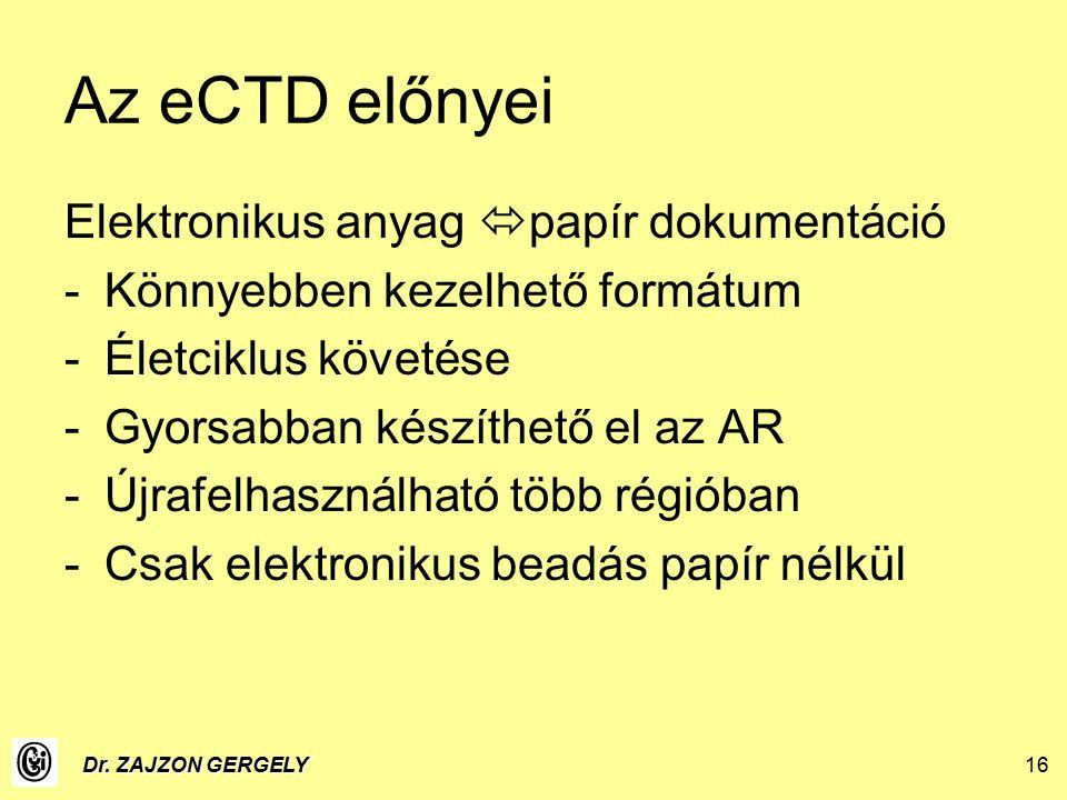 Dr. ZAJZON GERGELY16 Az eCTD előnyei Elektronikus anyag  papír dokumentáció -Könnyebben kezelhető formátum -Életciklus követése -Gyorsabban készíthet