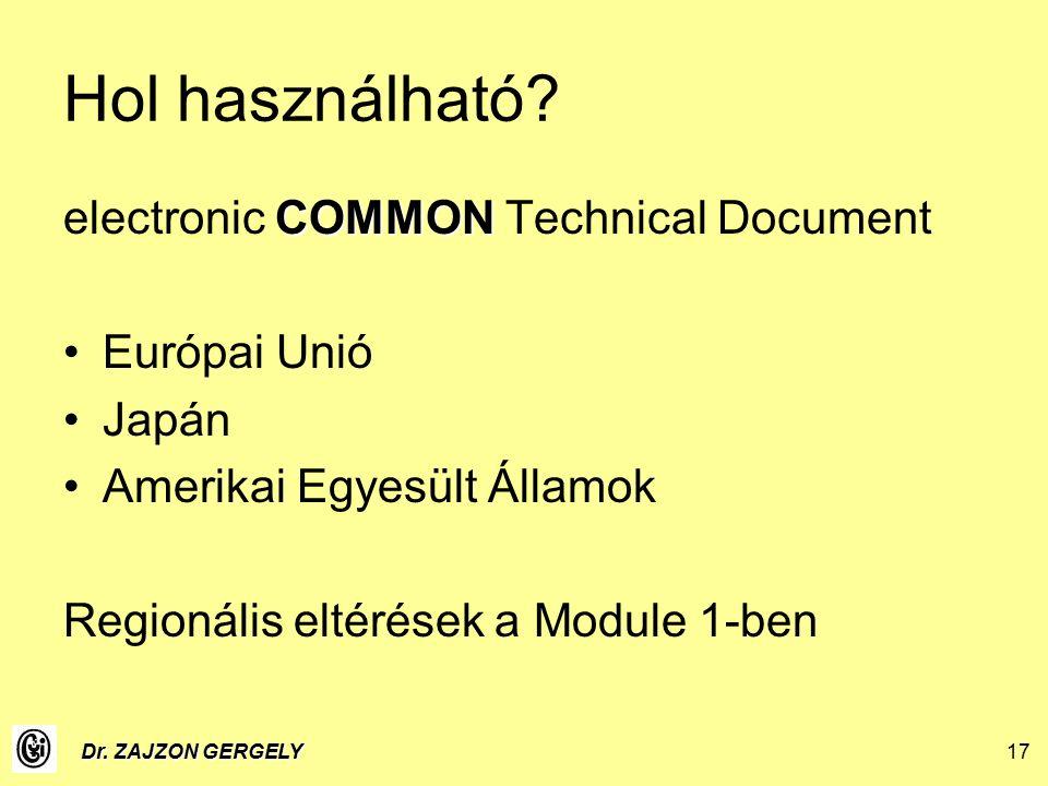 Dr. ZAJZON GERGELY17 Hol használható.