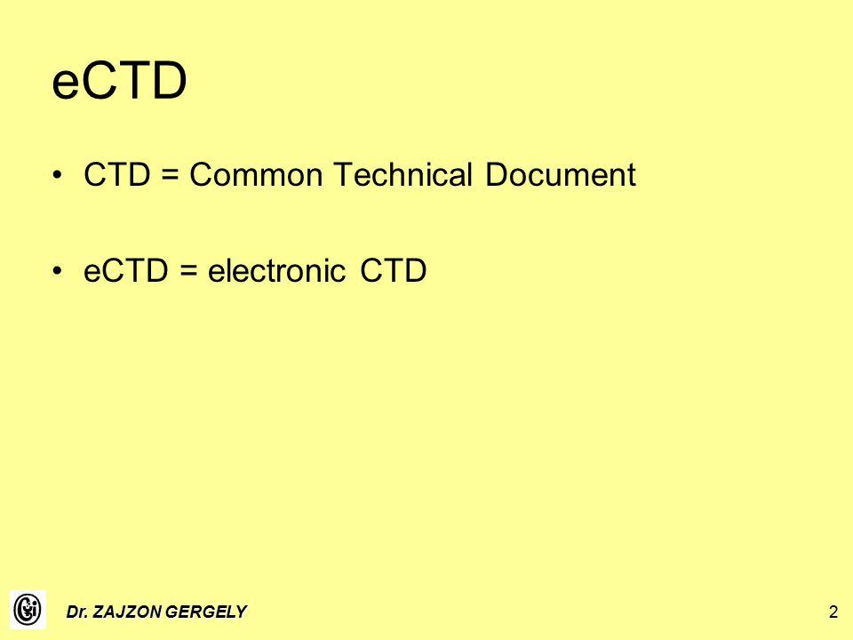Dr. ZAJZON GERGELY2 eCTD CTD = Common Technical Document eCTD = electronic CTD