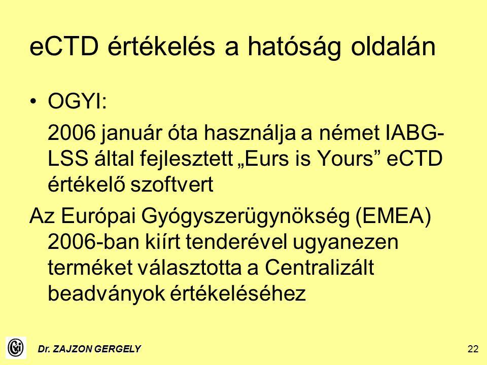"""Dr. ZAJZON GERGELY22 eCTD értékelés a hatóság oldalán OGYI: 2006 január óta használja a német IABG- LSS által fejlesztett """"Eurs is Yours"""" eCTD értékel"""