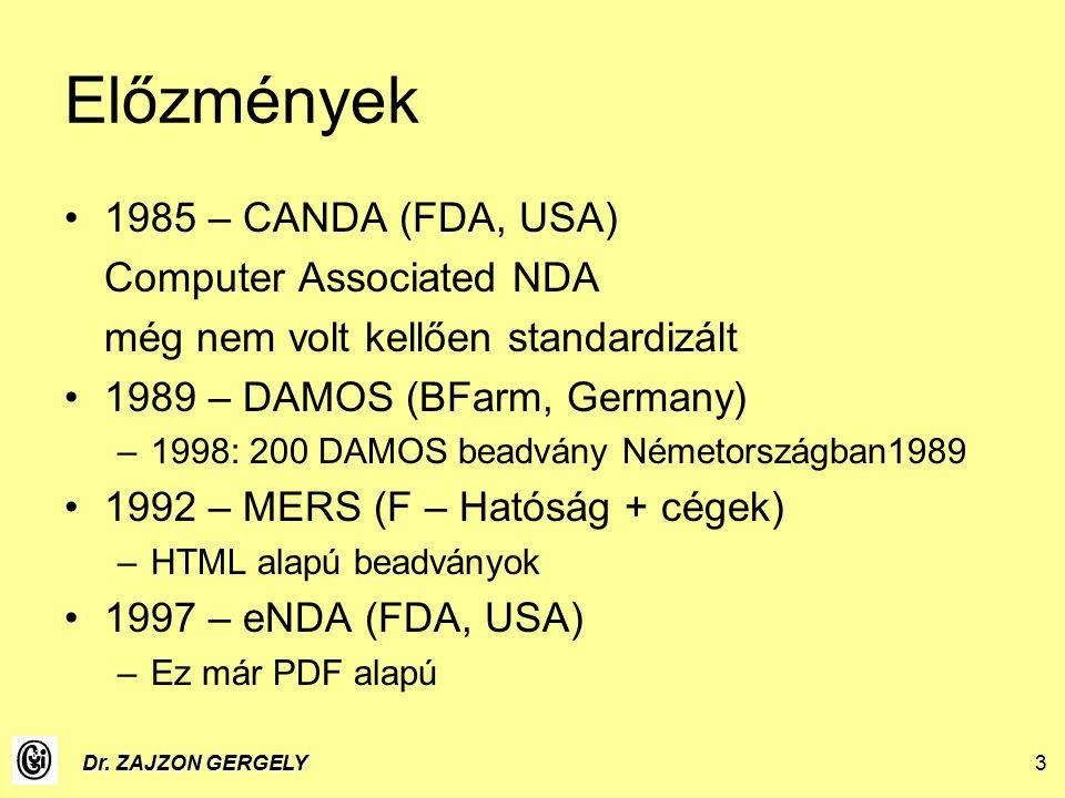 Dr. ZAJZON GERGELY3 Előzmények 1985 – CANDA (FDA, USA) Computer Associated NDA még nem volt kellően standardizált 1989 – DAMOS (BFarm, Germany) –1998:
