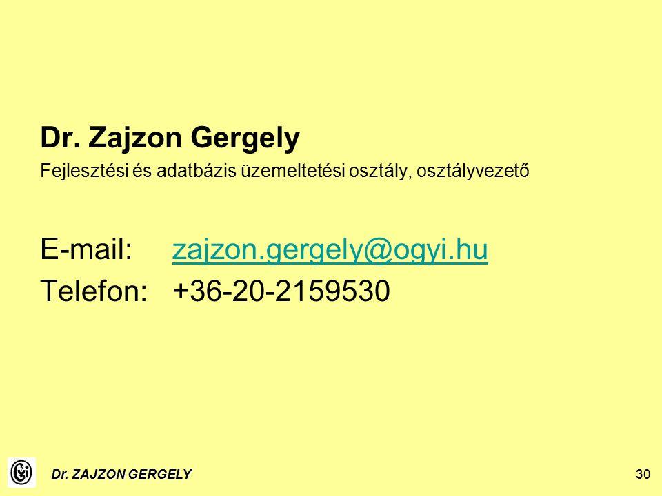 Dr. ZAJZON GERGELY30 Dr.