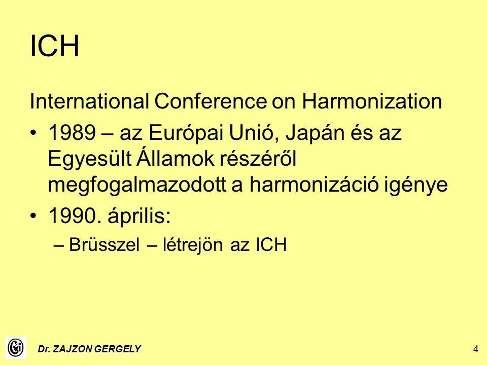 Dr. ZAJZON GERGELY4 ICH International Conference on Harmonization 1989 – az Európai Unió, Japán és az Egyesült Államok részéről megfogalmazodott a har
