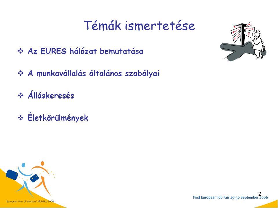 2 Témák ismertetése  Az EURES hálózat bemutatása  A munkavállalás általános szabályai  Álláskeresés  Életkörülmények