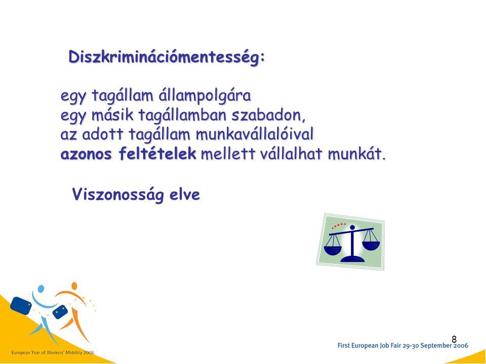 8 egy tagállam állampolgára egy másik tagállamban szabadon, az adott tagállam munkavállalóival azonos feltételek mellett vállalhat munkát.