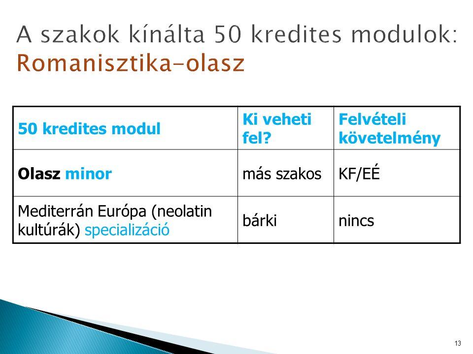 50 kredites modul Ki veheti fel? Felvételi követelmény Olasz minormás szakosKF/EÉ Mediterrán Európa (neolatin kultúrák) specializáció bárkinincs 13