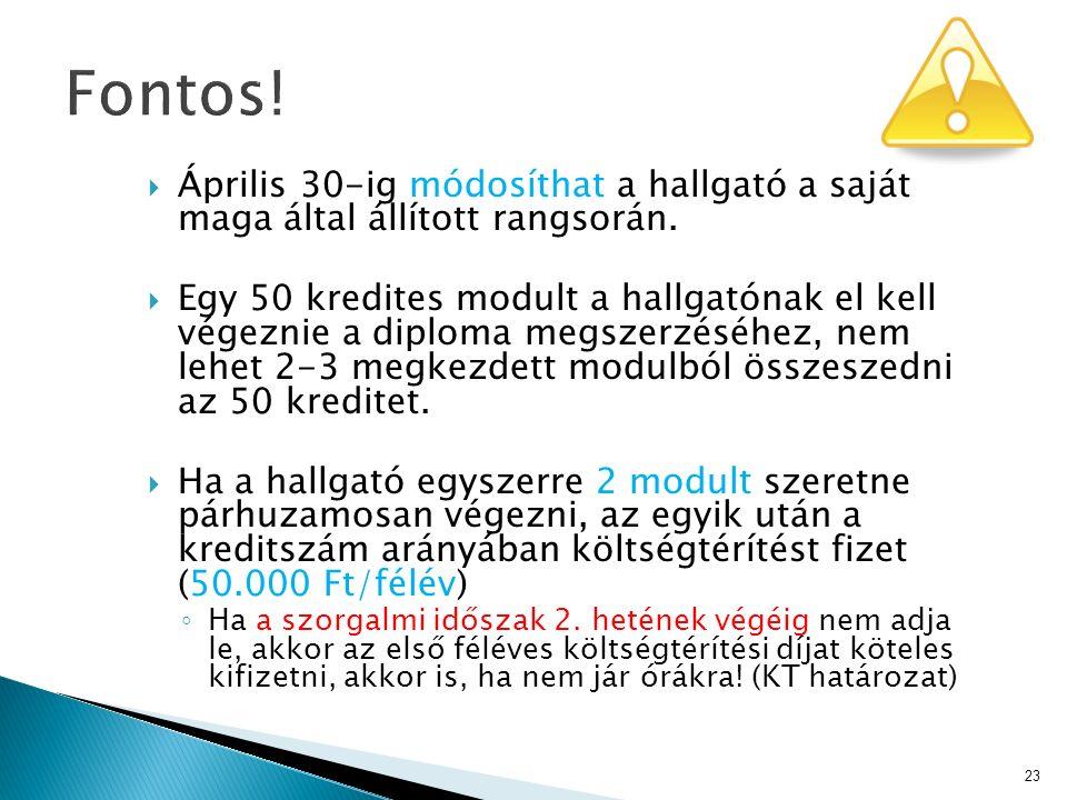  Április 30-ig módosíthat a hallgató a saját maga által állított rangsorán.  Egy 50 kredites modult a hallgatónak el kell végeznie a diploma megszer