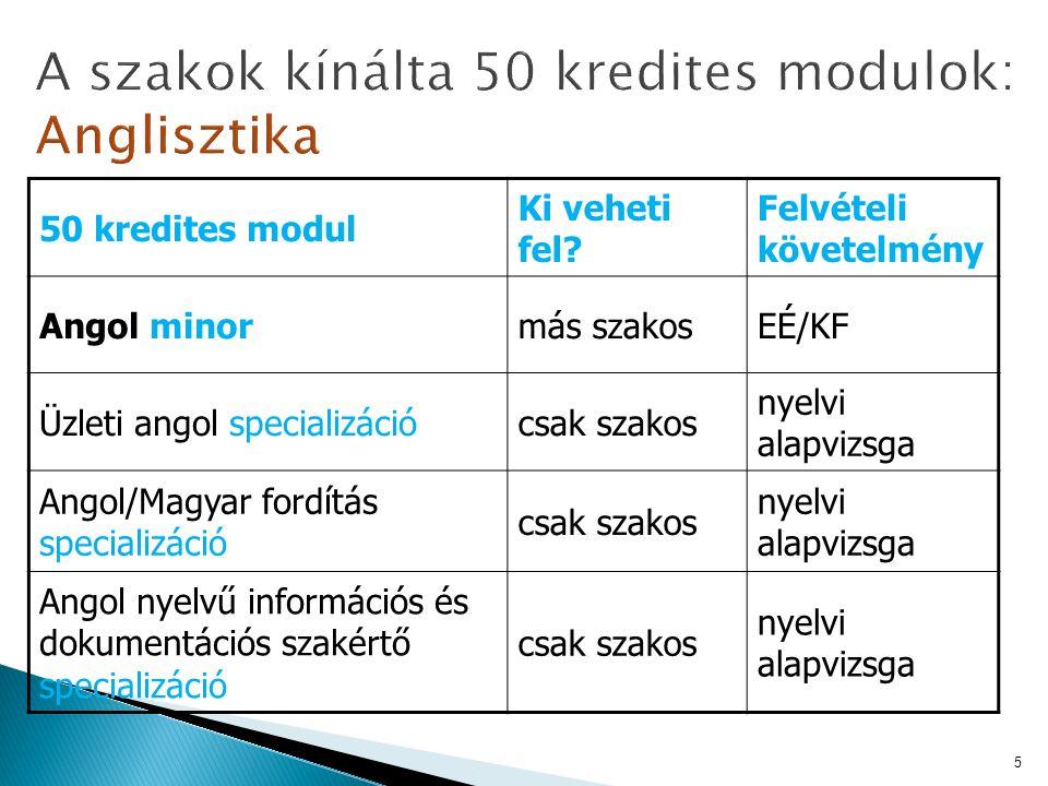 50 kredites modul Ki veheti fel.