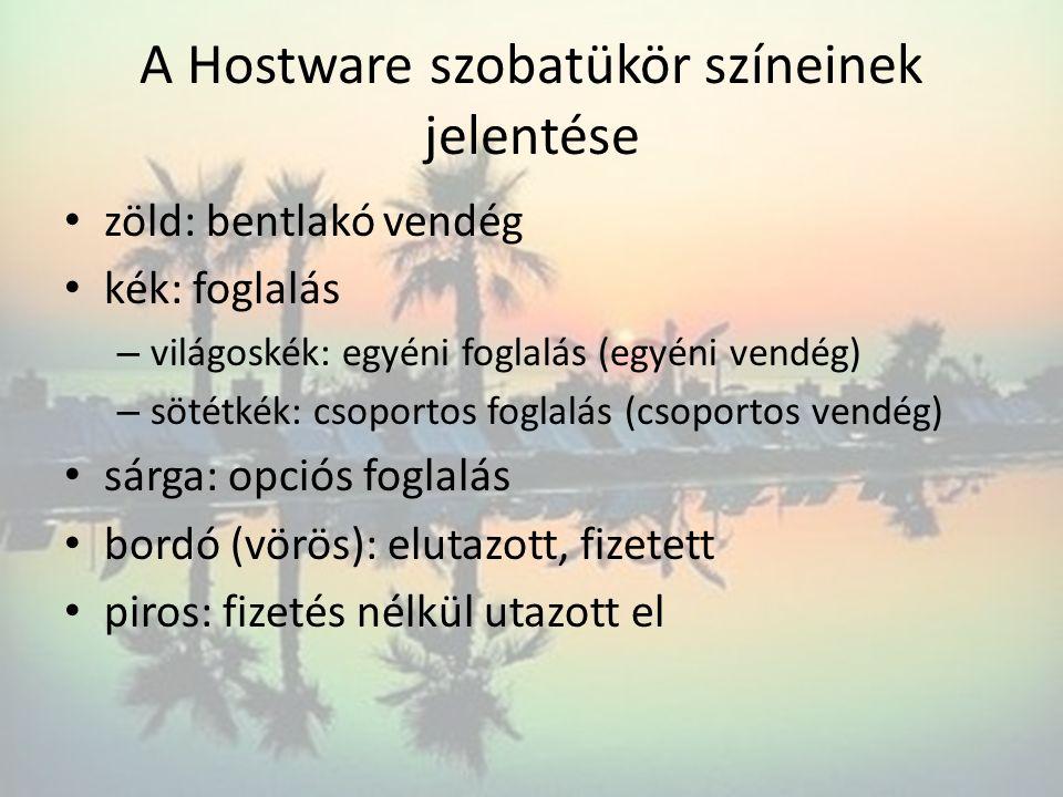 A Hostware szobatükör színeinek jelentése zöld: bentlakó vendég kék: foglalás – világoskék: egyéni foglalás (egyéni vendég) – sötétkék: csoportos fogl