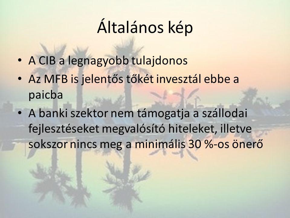 Általános kép A CIB a legnagyobb tulajdonos Az MFB is jelentős tőkét invesztál ebbe a paicba A banki szektor nem támogatja a szállodai fejlesztéseket