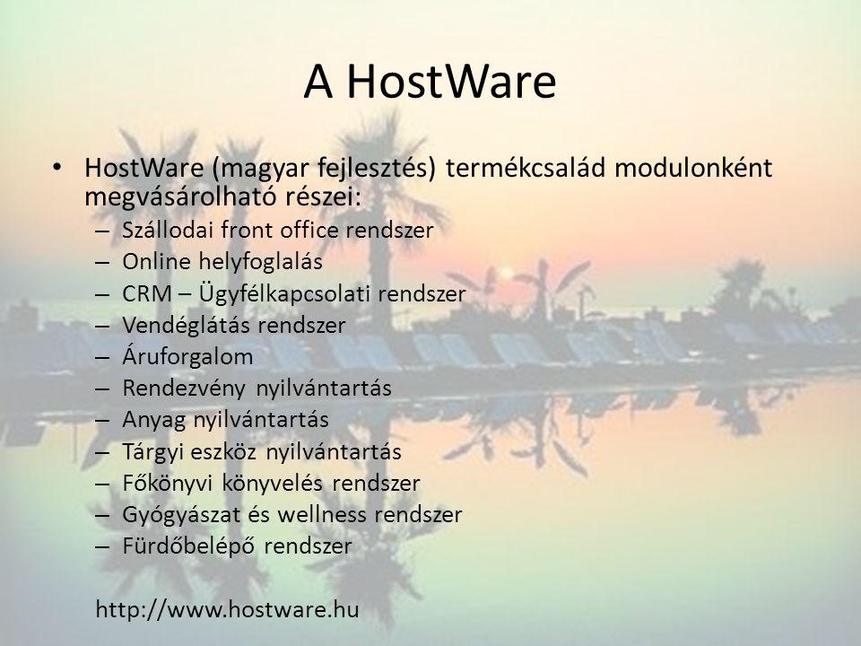 A HostWare HostWare (magyar fejlesztés) termékcsalád modulonként megvásárolható részei: – Szállodai front office rendszer – Online helyfoglalás – CRM