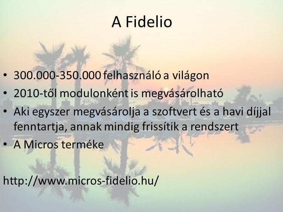 A Fidelio 300.000-350.000 felhasználó a világon 2010-től modulonként is megvásárolható Aki egyszer megvásárolja a szoftvert és a havi díjjal fenntartj