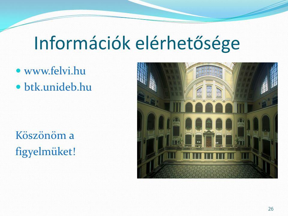 Információk elérhetősége www.felvi.hu btk.unideb.hu Köszönöm a figyelmüket! 26