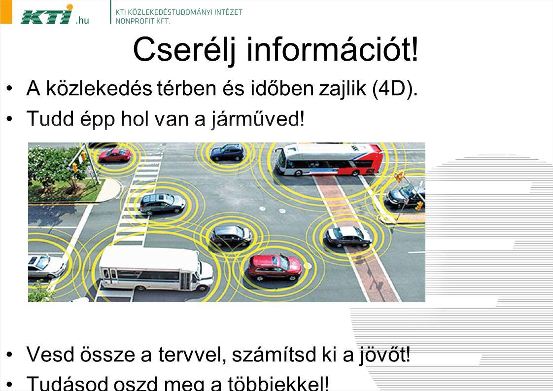 Cserélj információt! A közlekedés térben és időben zajlik (4D). Tudd épp hol van a járműved! Vesd össze a tervvel, számítsd ki a jövőt! Tudásod oszd m
