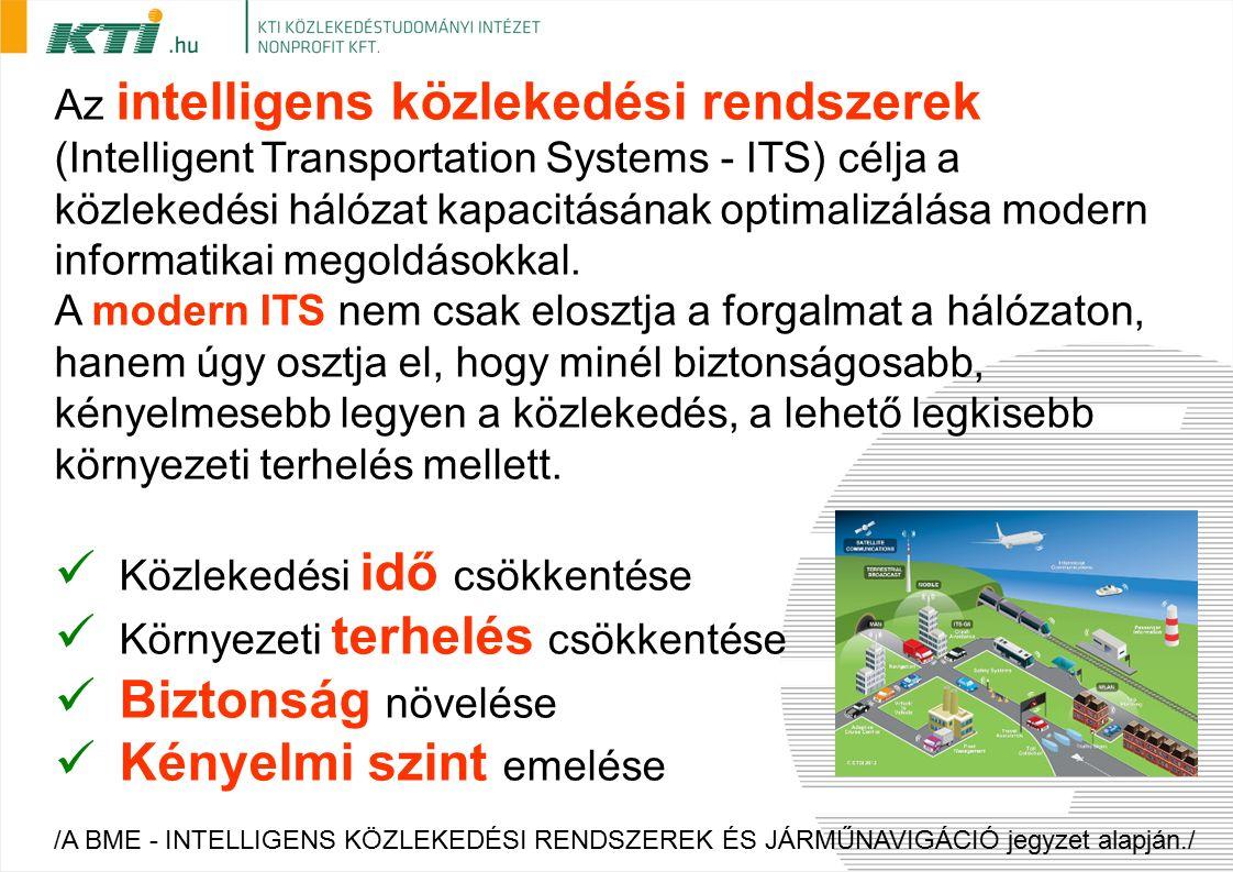 Az intelligens közlekedési rendszerek (Intelligent Transportation Systems - ITS) célja a közlekedési hálózat kapacitásának optimalizálása modern informatikai megoldásokkal.